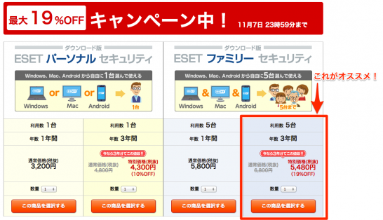 新規ダウンロード版の価格と購入お申し込み___ESETセキュリティソフト 3